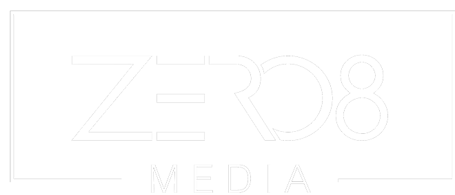 ZERO8 MEDIA Logo White Transparent BG